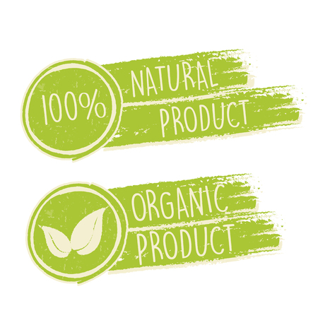 original ecological: 100 percent natural and eco friendly with leaf sign in green drawn banners, bio ecology concept Stock Photo