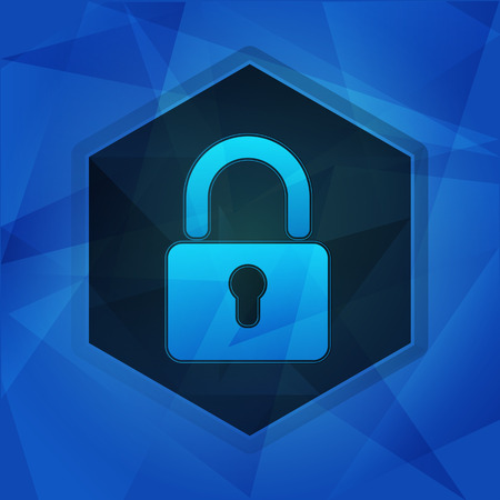 lockout: padlock sign over blue background with flat design hexagons, internet technology security concept symbol Stock Photo