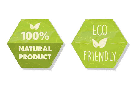 original ecological: 100 percent natural and eco friendly with leaf sign in green hexagons labels, bio ecology concept