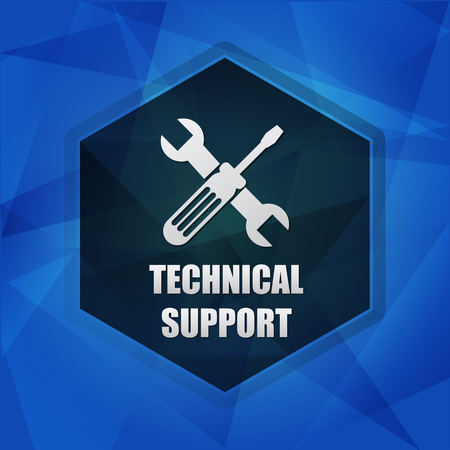 uphold: technical support with tools sign over blue background with flat design hexagons, web icon with symbol, business service concept