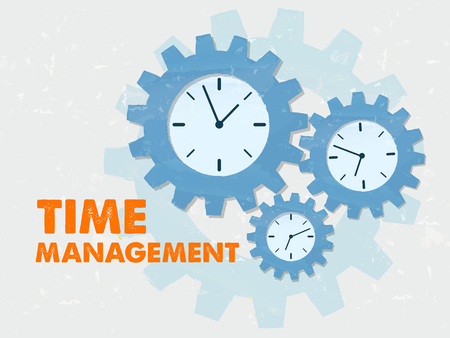 moneymaker: time management with clock signs - business organizing concept words and symbols - red text and blue grunge flat design gear wheels Stock Photo