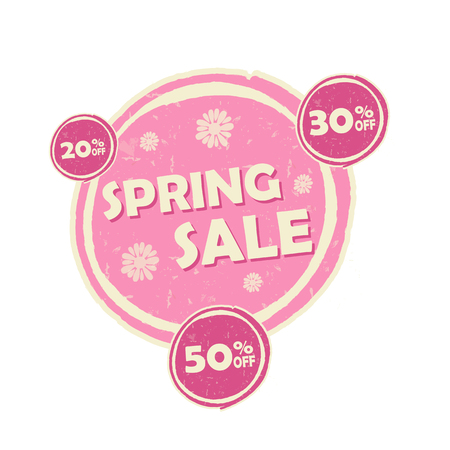 percentages: spring sale and 20, 30, 50 percentages off banner - text in pink circular drawn label, business seasonal shopping concept