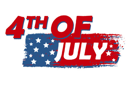 independency: 4th of July with stars over drawing flag banner - USA Independence Day, american holiday concept