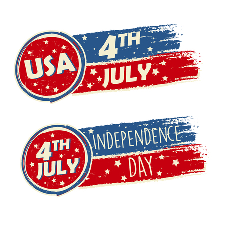independency: USA Independence Day and 4th of July with stars in drawing banners - American holiday concept Stock Photo