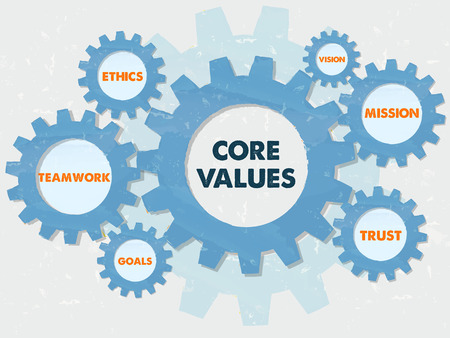 core values, teamwork, ethics, goals, vision, mission, trust,  - words in grunge flat design gear wheels infographic, business cultural riches concept