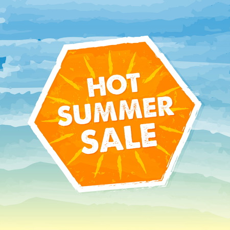errand: hot summer sale banner - text in orange hexagon label over yellow blue drawn background, business seasonal shopping concept, vector Illustration