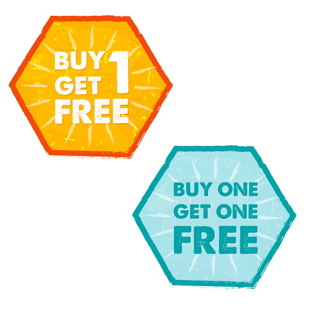 buy one get one free: buy one get one free - text in orange and blue grunge flat design hexagons labels, business shopping concept, vector