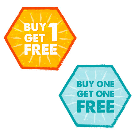 buy one: buy one get one free - text in orange and blue grunge flat design hexagons labels, business shopping concept