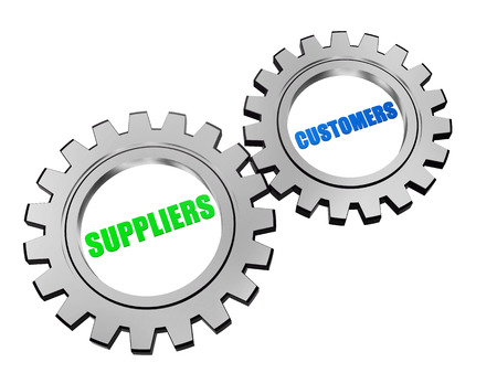 operate: suppliers and customers - text in 3d silver grey metal gear wheels, business servicing operate concept words