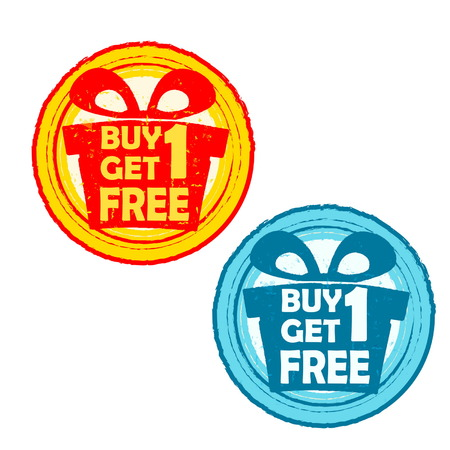 buy one get one free: buy one get one free with gift signs - text in yellow red and blue drawn label with present box symbols, business shopping concept, vector