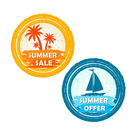 inexpensive: summer sale and offer banners with palms and boat signs - text in yellow orange and blue drawn circle labels with symbols, business seasonal shopping concept, vector Illustration