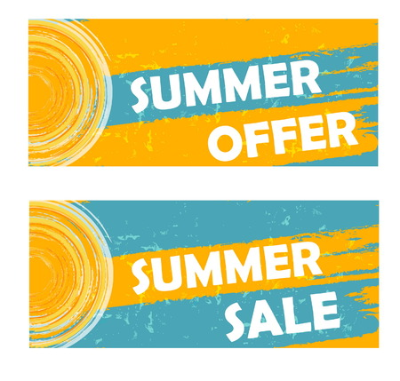summer offer and sale banners - text and sun sign in yellow blue drawn labels, business seasonal shopping concept, vector