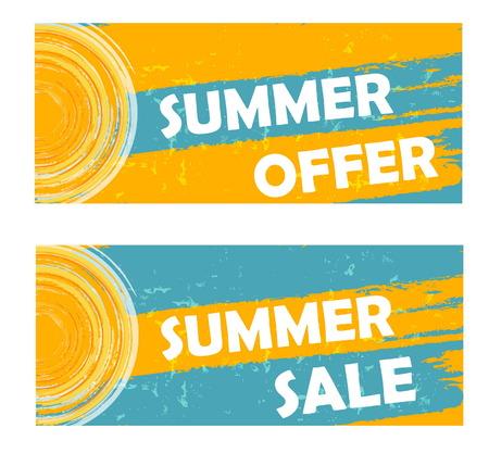 夏天优惠和销售横幅 - 文本和太阳签到黄色蓝色被画的标签,企业季节性购物概念,传染媒介