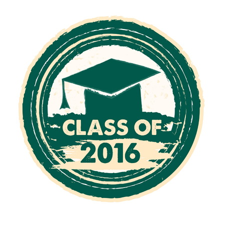 trencher: class of 2016 text with graduate cap with tassel - mortarboard, graduate education concept, drawn circle label, vector