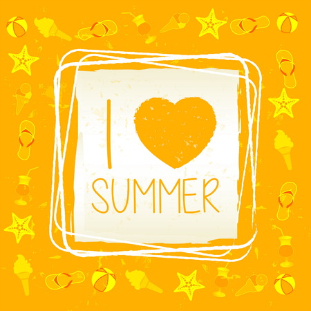 summerly: I love summer with signs banner - text in frame over yellow old paper background, drawn label with summerly symbols, holiday seasonal concept, vector Illustration