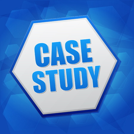 typology: case study over blue background with flat design hexagons, education concept words, vector