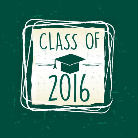 trencher: class of 2016 text with graduate cap with tassel - mortarboard, in frame over green old paper background, graduate education concept, vector