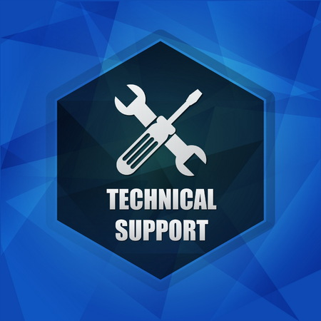 uphold: technical support with tools sign over blue background with flat design hexagons, web icon with symbol, business service concept, vector