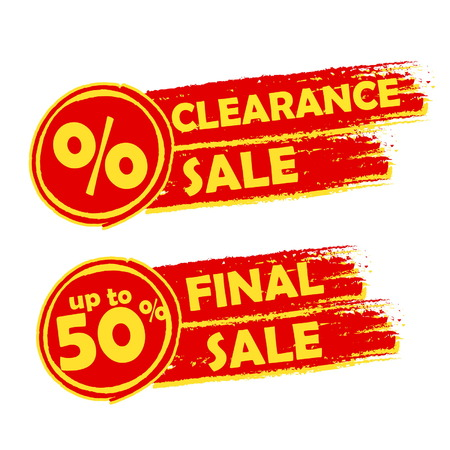 selling off: clearance and final sale with percent and 50 percentage signs banners - text in orange drawn labels with symbols, business commerce shopping concept, vector