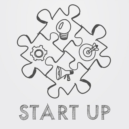 action fund: start up and business concept signs in puzzle pieces - text and idea, goal, advertise symbols in black white hand-drawn style, business building concept, vector Illustration