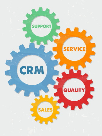 qualities: CRM, support, service, quality, sales - words in colored grunge flat design gear wheels, business concept - customer relationship management, vector