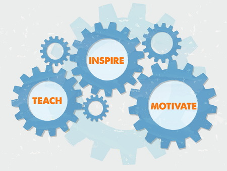 inspire: teach, inspire, motivate - text in colored grunge flat design gear wheels, education motivation concept words, vector