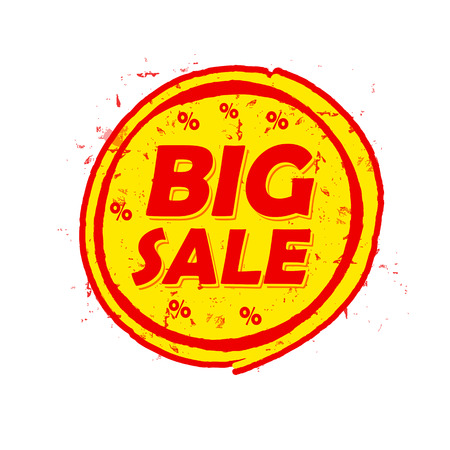 selling off: big sale and percentages off, circle drawn label - text in red and yellow round banner, business shopping concept