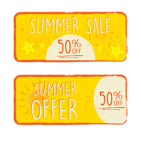 percentages: summer sale and offer labels with 50 percentages off and sun and starfish signs - text in yellow drawn banners with symbols, business seasonal shopping concept