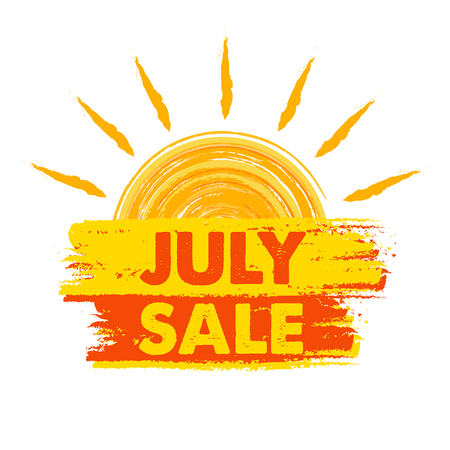 inexpensive: july sale summer banner - text in yellow and orange drawn label with sun symbol, business seasonal shopping concept, vector