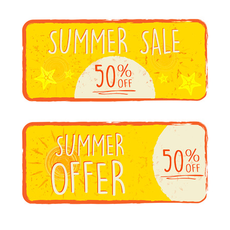 summer sale and offer labels with 50 percentages off and sun and starfish signs - text in yellow drawn banners with symbols, business seasonal shopping concept, vector Ilustração