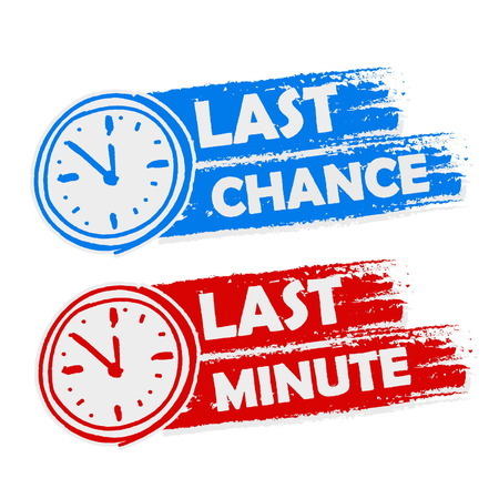 last chance and last minute offer with clock signs banners - text in blue and red drawn labels with symbols, business commerce shopping concept, vector