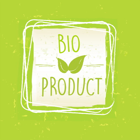 paper product: bio product with leaf sign in frame over green old paper background, vector Illustration