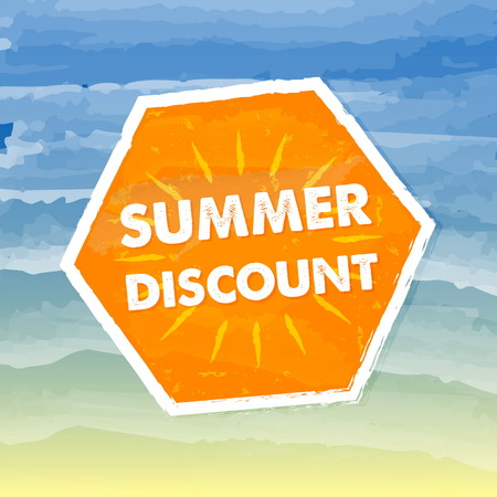 abatement: summer discount banner - text in orange hexagon label over yellow blue drawn background, business seasonal shopping concept, vector Illustration