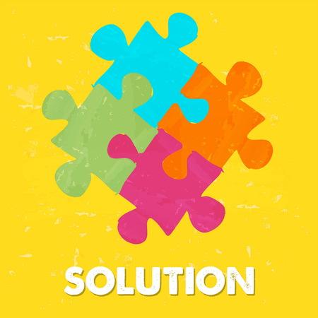 oplossing en puzzelstukjes - tekst en teken in kleurrijke grunge getrokken stijl, business creatief concept, vector