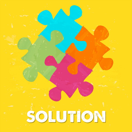 ingenious: solution and puzzle pieces - text and sign in colorful grunge drawn style, business creative concept, vector Illustration