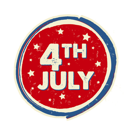 independency: 4th of July with stars in drawing round banner - USA Independence Day, american holiday concept label