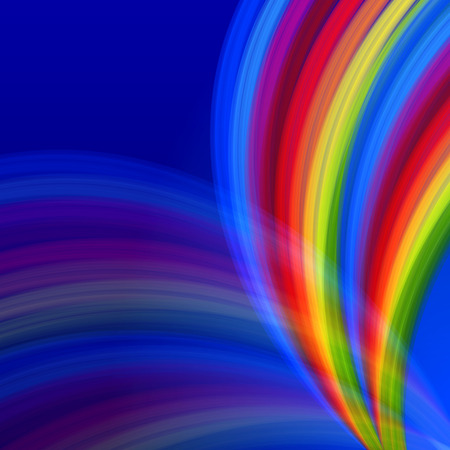 ray trace: abstract multicolored rainbow lines like fountain over blue background