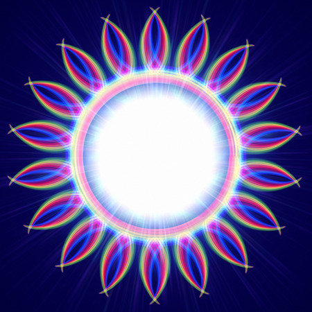 wreathe: abstract rainbow colorful rays lights round circle like shining flower over blue background