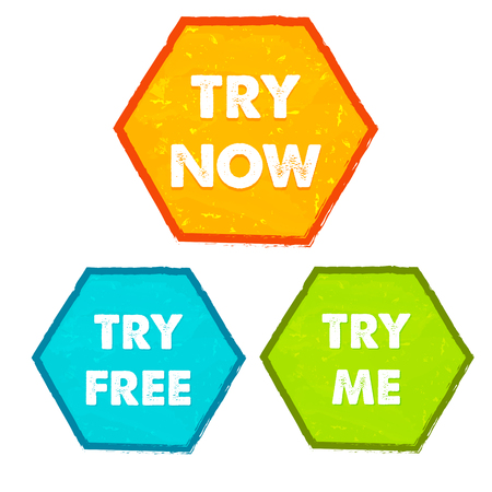 free me: try now, try free, try me - text in orange, blue, green grunge flat design hexagons banners, business technology present concept labels