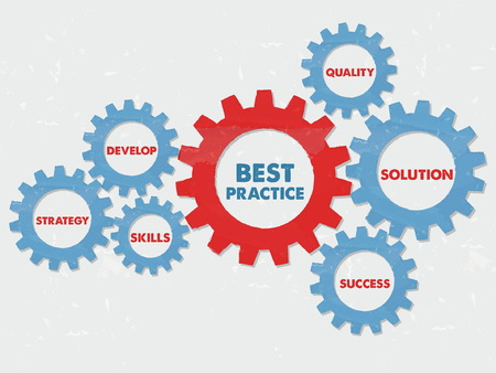 proficiency: best practice, quality, solution, success, develop, strategy, skills - business professional concept words - red blue text in grunge flat design gear wheels, vector