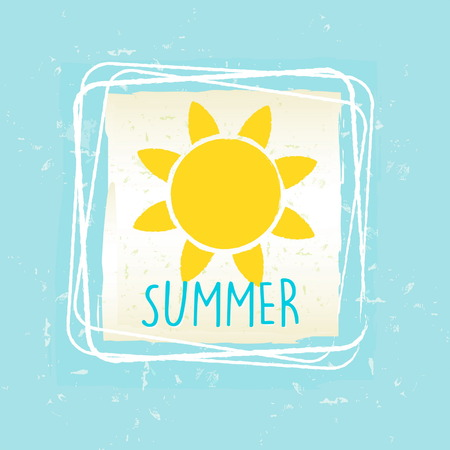 summery: summer with yellow sun sign in frame over blue old paper background, seasonal card, vector Illustration