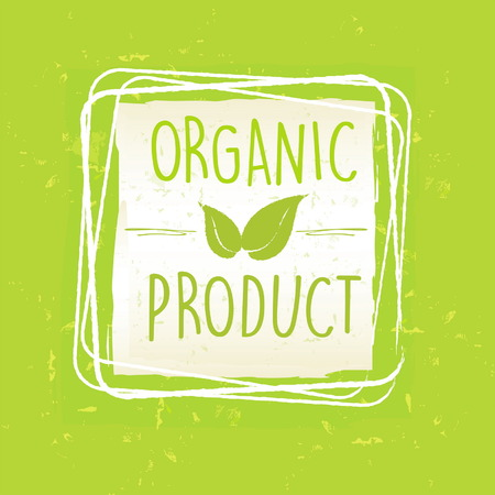 original ecological: organic product with leaf sign in frame over green old paper background, vector