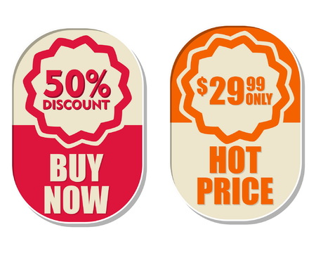 99: 29,99 only, 50 percent discount, buy now and hot price text banners, two elliptic flat design labels, business shopping concept, vector