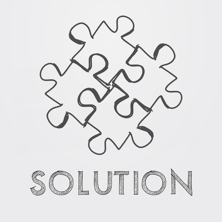 ingenious: solution and puzzle pieces - text and sign in black white hand-drawn style, business creative concept, vector Illustration