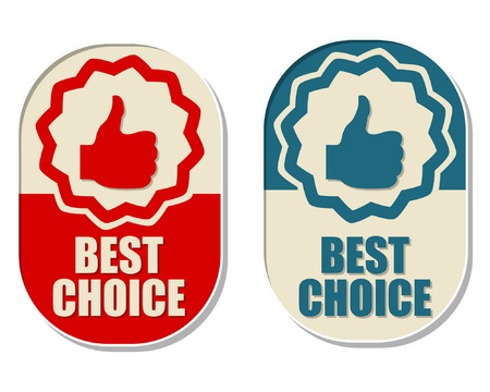 first grade: best choice and thumb up signs, two elliptic flat design labels with symbols, business concept, vector