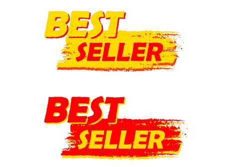 first grade: best seller banners - text in yellow and red drawn labels, business shopping concept, vector