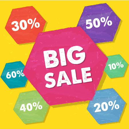 percentages: big sale and percentages in hexagons over yellow background, grunge flat design, business shopping concept, vector