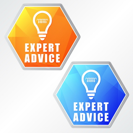 adept: expert advice and bulb symbols - two colors hexagons web icons with signs, flat design, business service support concept, vector