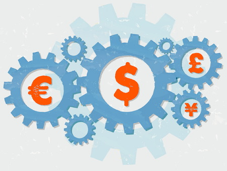 monetary concept: euro, dollar, pound and yen signs - business finance and monetary units concept - red symbols in blue grunge flat design gear wheels, vector