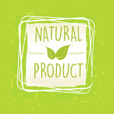 paper product: natural product with leaf sign in frame over green old paper background, vector